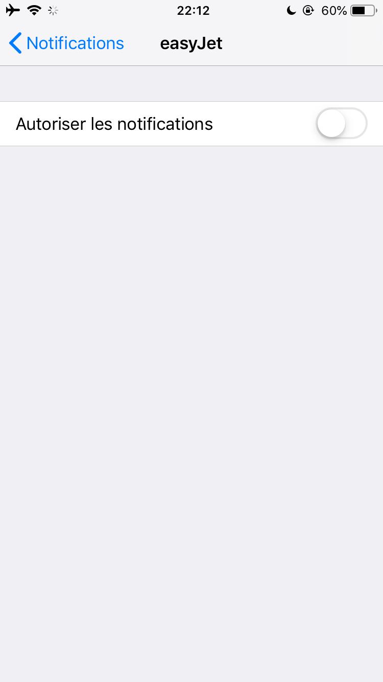 désactiver les notifications iPhones