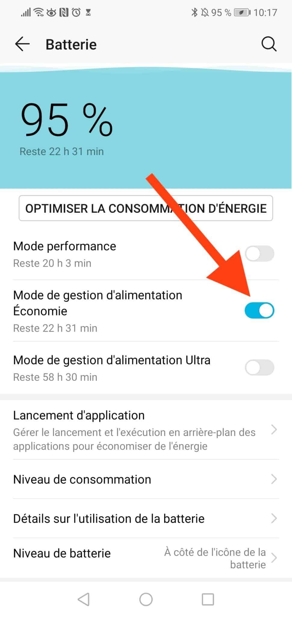 économiser la batterie android