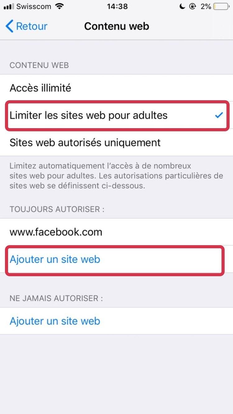 Ajouter restriction site web adulte