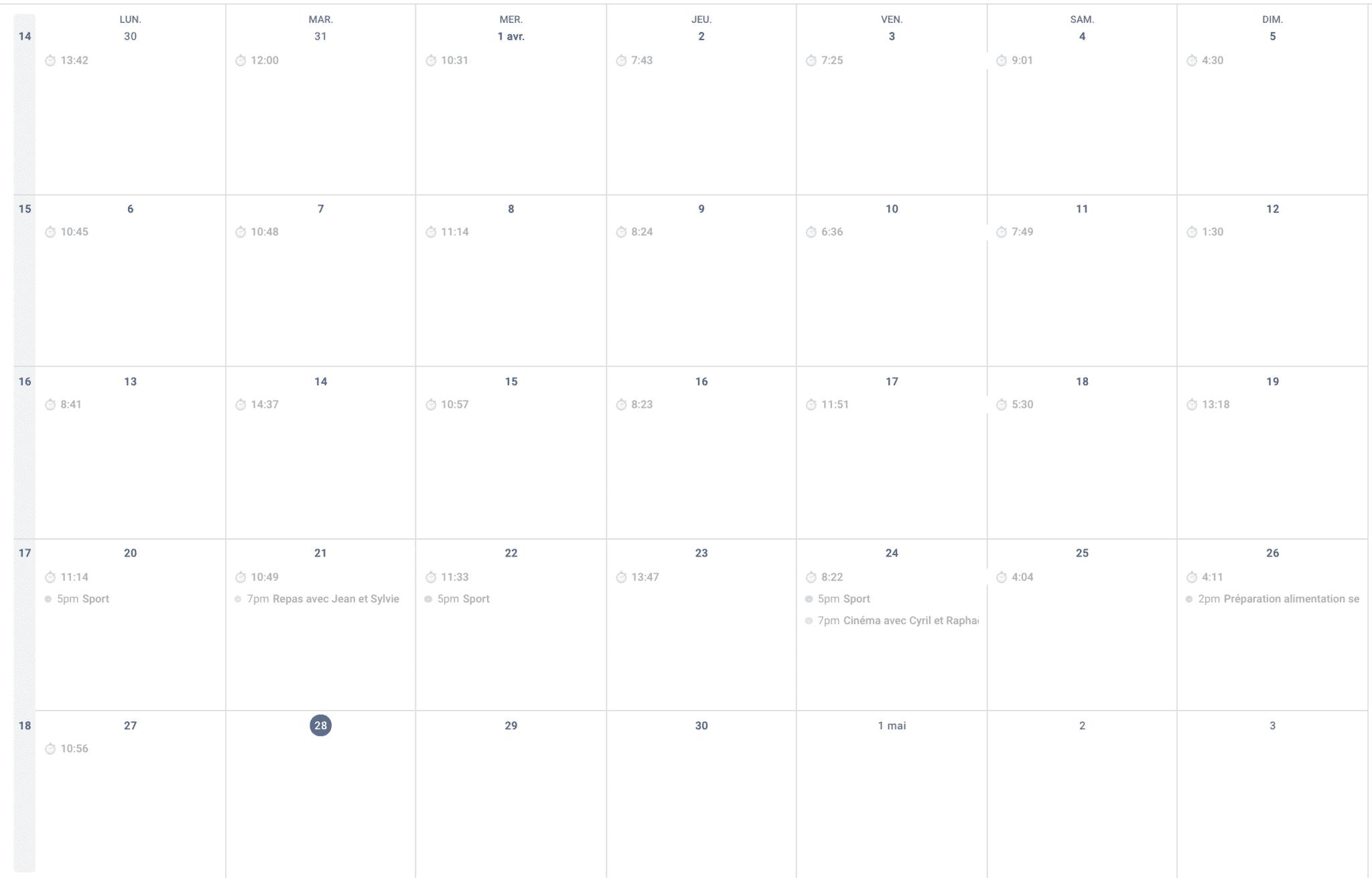 agenda mensuel