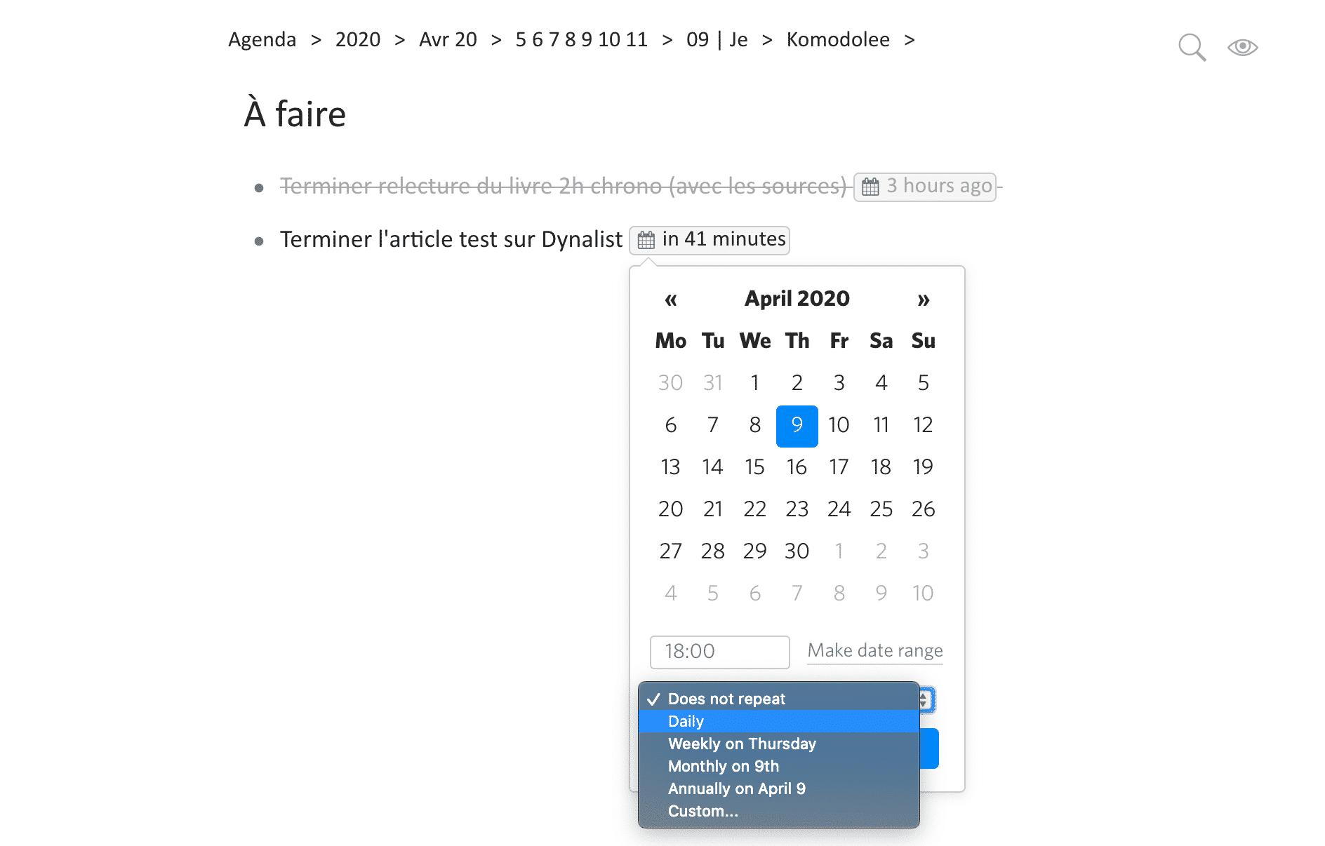 Utilisation des dates