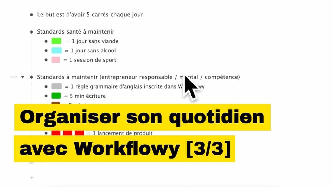 Mots-clés colorés Workflowy