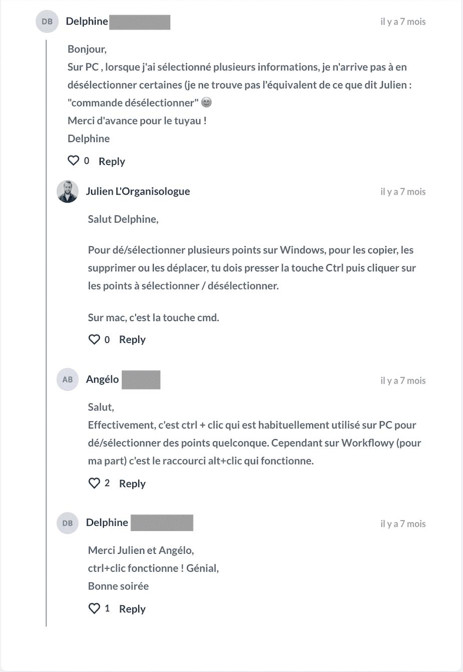 les commentaires