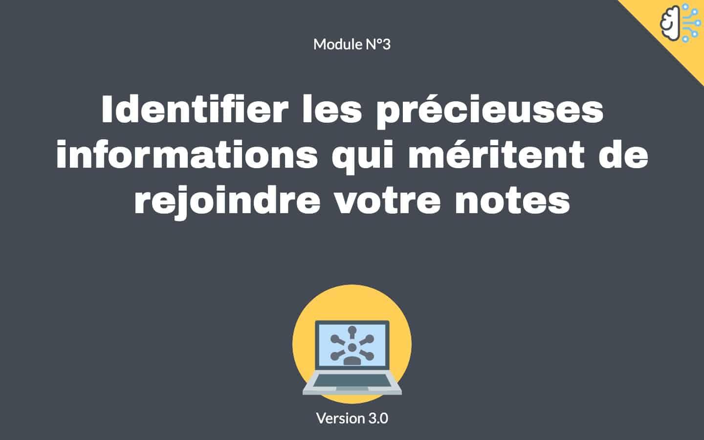 Prise de notes utiles module 3